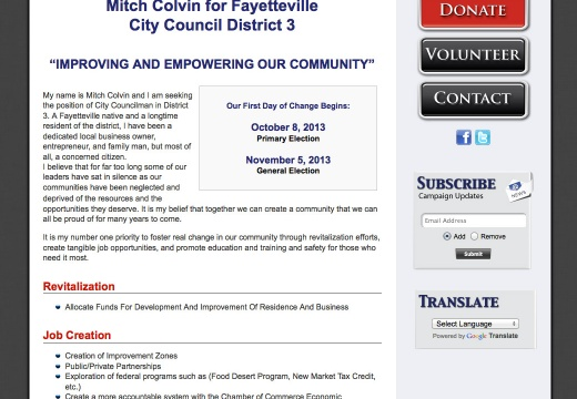 Mitch Colvin for Fayetteville City Council District 3