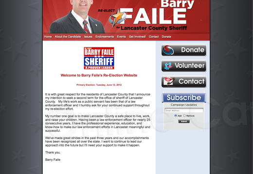 Re-Elect Barry Faile Lancaster County Sheriff