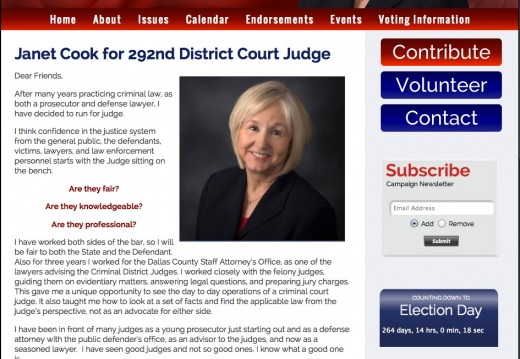 Janet Cook for 292nd District Court Judge