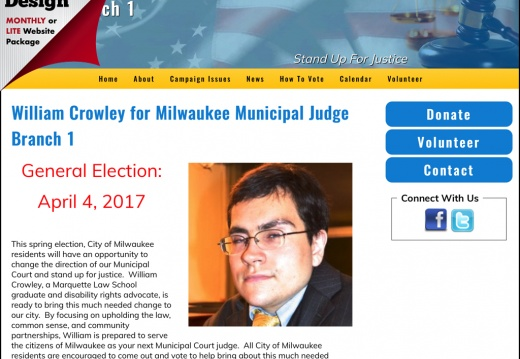 William Crowley For Milwaukee Municipal Judge Branch 1